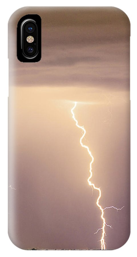 james Insogna IPhone X Case featuring the photograph Lightning Bolt With A Fork by James BO Insogna