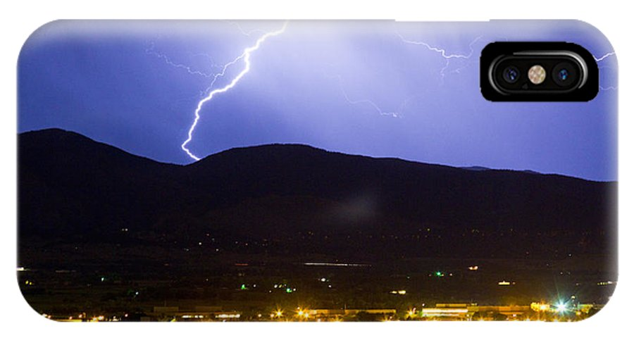 decorative Canvas Prints IPhone X Case featuring the photograph Lightning Striking Over Ibm Boulder Co 1 by James BO Insogna