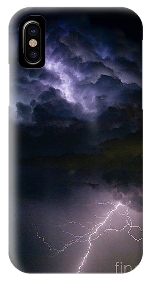 Lightning IPhone X Case featuring the photograph Lightning Thunderhead Storm Rumble by James BO Insogna