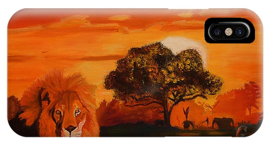 Lions IPhone X Case featuring the painting Lions Love Life by John Paul Blanchette