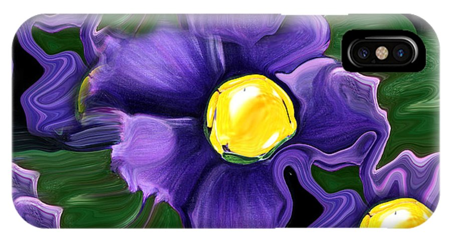 Liquid Violets IPhone X Case featuring the painting Liquid Violets by Barbara Griffin