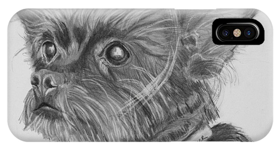 Dog IPhone X Case featuring the drawing Little Heartbeat At My Feet by Susan A Becker