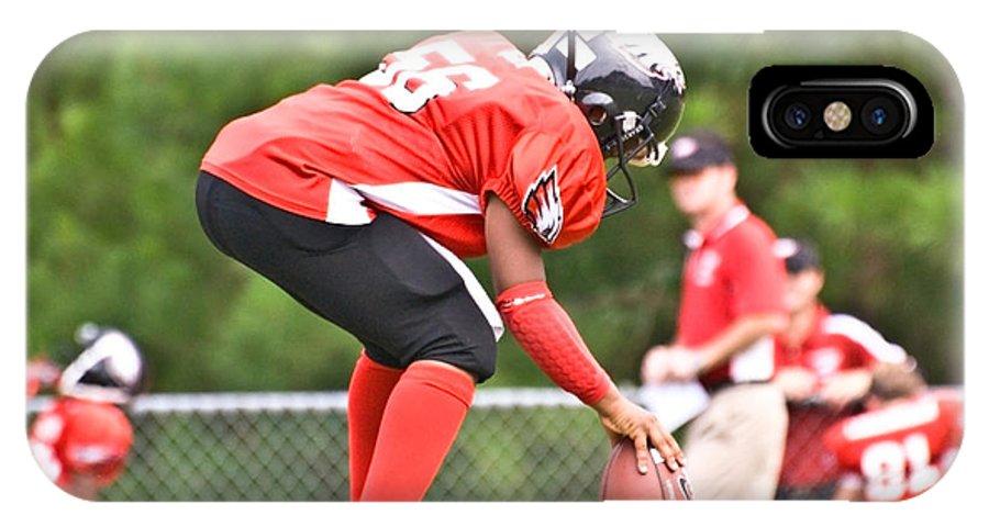 America IPhone X Case featuring the photograph Little League Football Kickoff by Susan Leggett