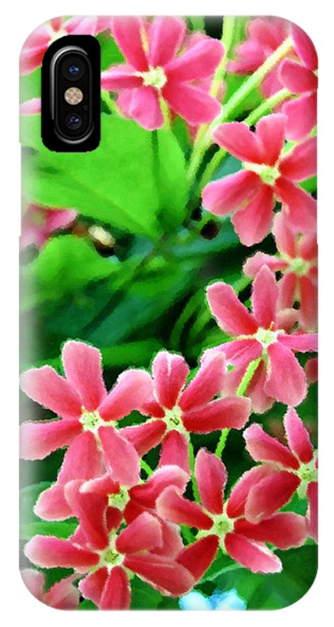 Nature IPhone X Case featuring the digital art Little Pink Flowers by Eva Kaufman