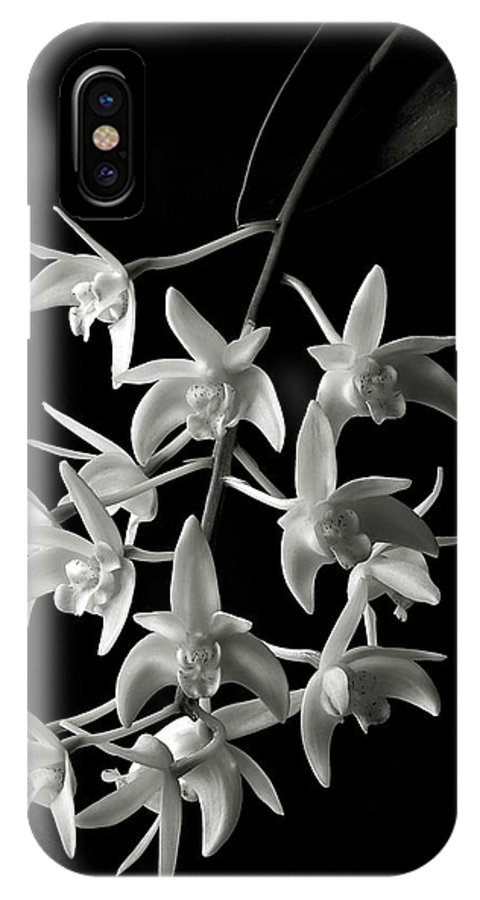 Flower IPhone X Case featuring the photograph Little White Orchids In Black And White by Endre Balogh
