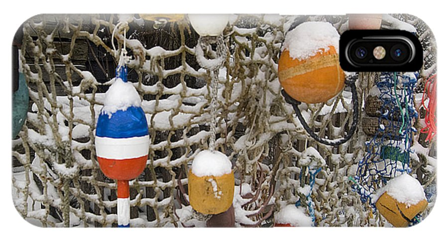 Lobster Buoys IPhone X Case featuring the photograph Lobsta Snow Net by Dave Saltonstall