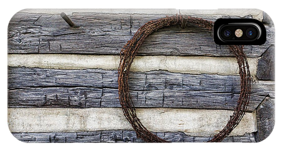 Kansas IPhone X Case featuring the photograph Log Cabin And Barbed Wire by Alan Hutchins