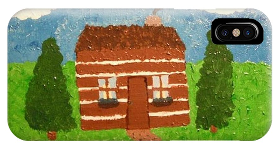 Cabin IPhone X Case featuring the painting Lone Log Cabin by Jeannie Atwater Jordan Allen