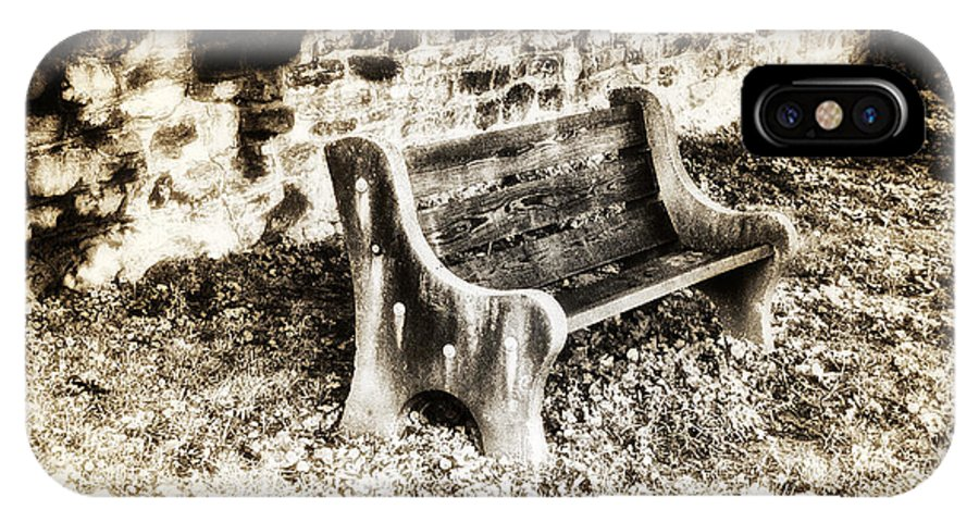 Lonely Park Bench IPhone X Case featuring the photograph Lonely Park Bench by Bill Cannon