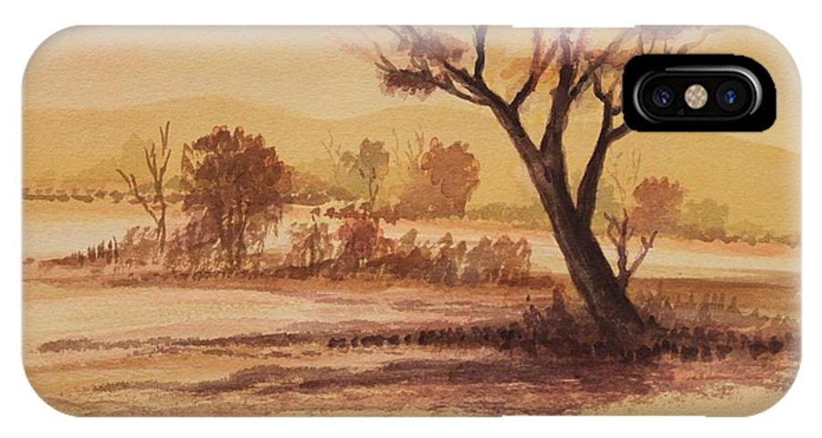 Landscape IPhone X Case featuring the painting Lonesome 2 by Remegio Onia