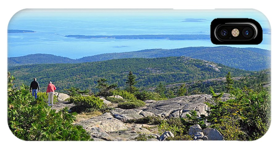Acadia National Park IPhone X / XS Case featuring the photograph Looking Down The Ledge by Lynda Lehmann
