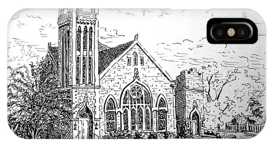 Pen & Ink IPhone X Case featuring the drawing Louisianna Church 1 by Gretchen Allen