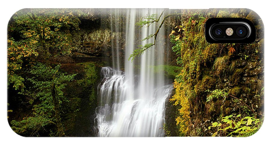 Silver Falls State Park IPhone X / XS Case featuring the photograph Lower South Falls At Silver Falls by Adam Jewell