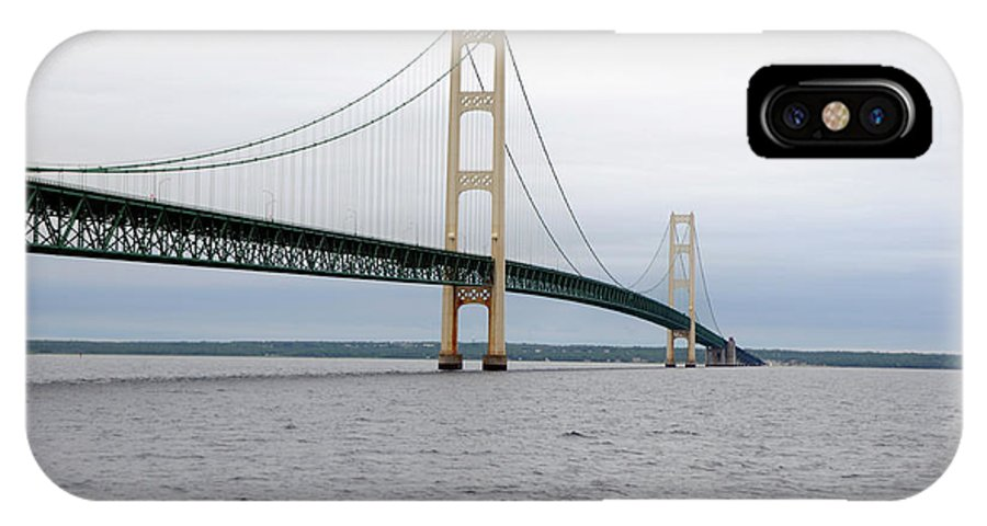 Bridge IPhone X Case featuring the photograph Mackinac Bridge From Water 2 by Ronald Grogan