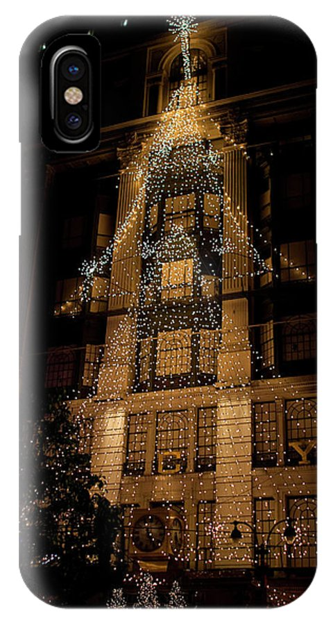New York City IPhone X / XS Case featuring the photograph Macy's Ny Christmas Lights by Lorraine Devon Wilke