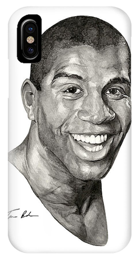 Magic Johnson IPhone X Case featuring the painting Magic by Tamir Barkan