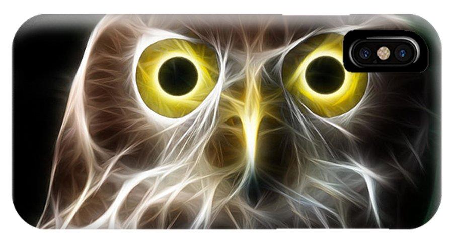 Owl IPhone X Case featuring the digital art Magical Owl by Paul Van Scott