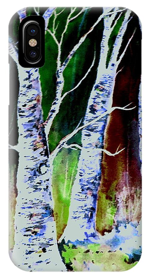 Landscape IPhone X Case featuring the painting Magical Woods by Brenda Owen