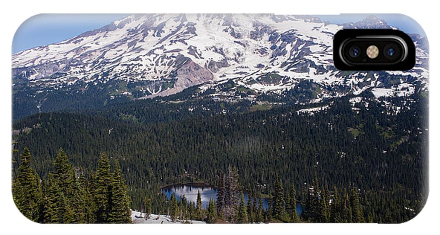 Rainier IPhone X Case featuring the photograph Majestic Rainier Reflected by Mike Reid