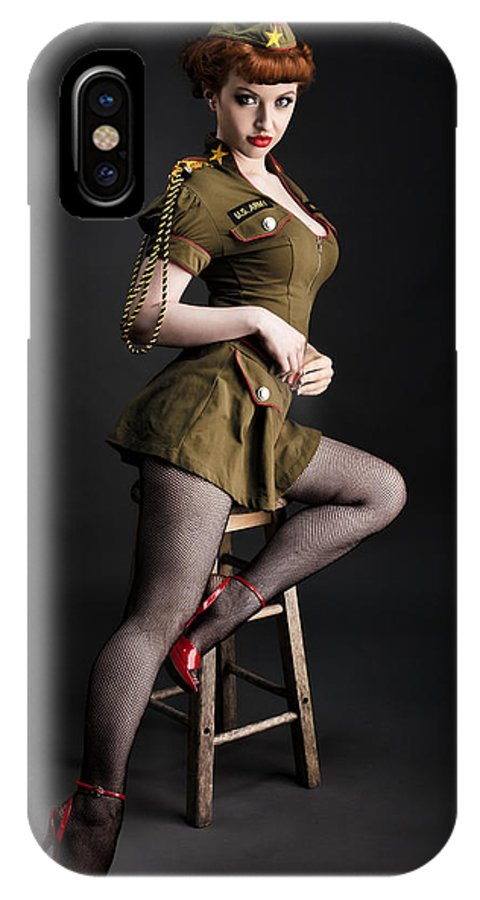 Redhead Pinup Art IPhone X Case featuring the photograph Major Trouble 477 by Gary Heller