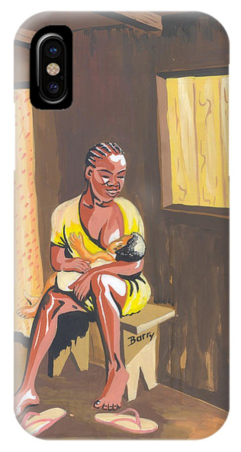 Africa IPhone X Case featuring the painting Maman Cherie by Emmanuel Baliyanga