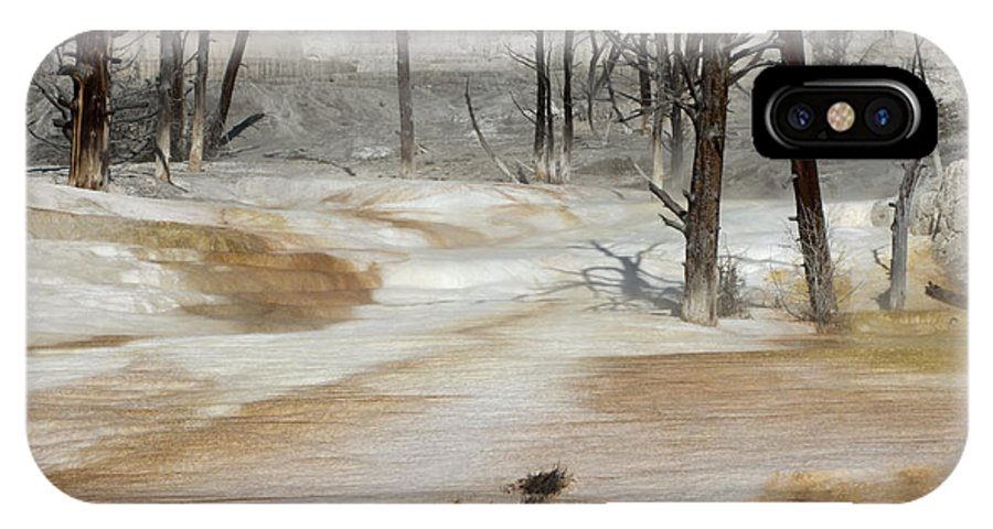 Yellowstone IPhone X Case featuring the photograph Mammoth Terrace Runoff by Sandra Bronstein