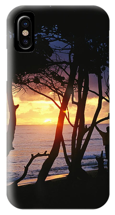 Natural Forces And Phenomena IPhone X / XS Case featuring the photograph Man And Surfboard At Sunrise, Cabarete by Skip Brown