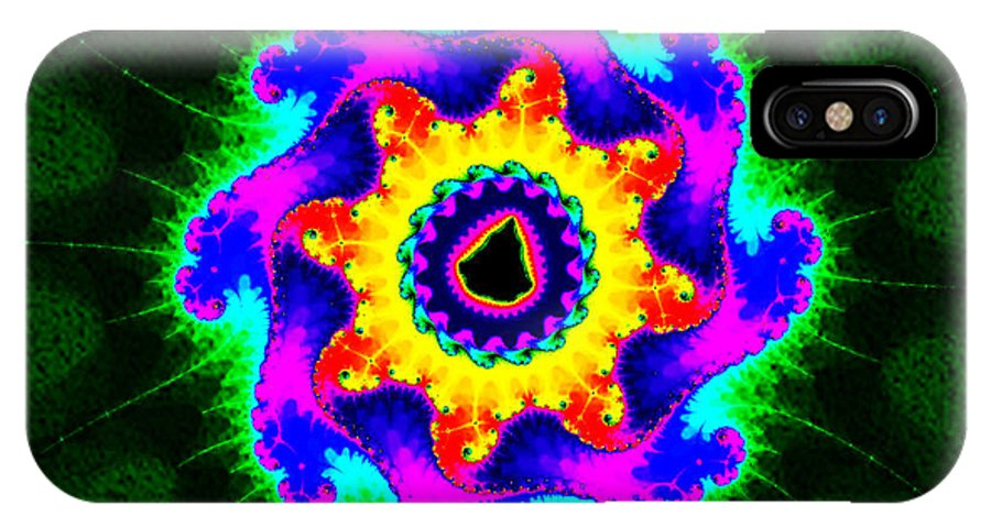 Fractal IPhone X Case featuring the digital art Mandala Textured - Fractal by Ester Rogers