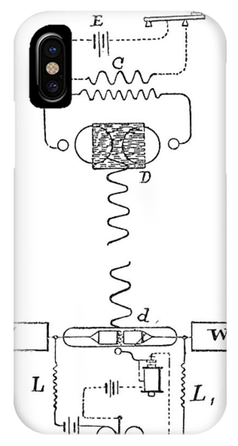 Diagram IPhone X / XS Case featuring the photograph Marconi Radio Circuits, 19th Century by