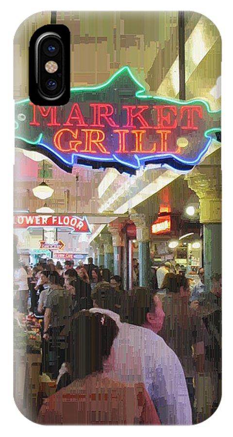 Market IPhone X Case featuring the digital art Market Grill 3 by Tim Allen