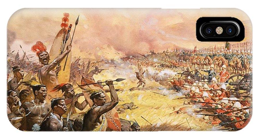 Ulundi; Massace; Battle; Zulu; Zulus; War; Warfare; Natives; Africa; South Africa; Cetewayo IPhone X Case featuring the painting Massacre At Ulundi by James Edwin McConnell