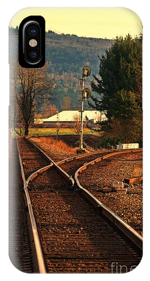 Train IPhone X Case featuring the photograph Matsqui Taintracks by Dawn Harris