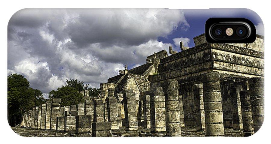 Chichen Itza IPhone X Case featuring the photograph Mayan Colonnade by Ken Frischkorn