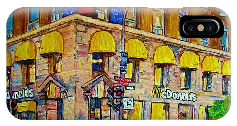 Mcdonald Restaurant Montreal IPhone Case featuring the painting Mcdonald by Carole Spandau