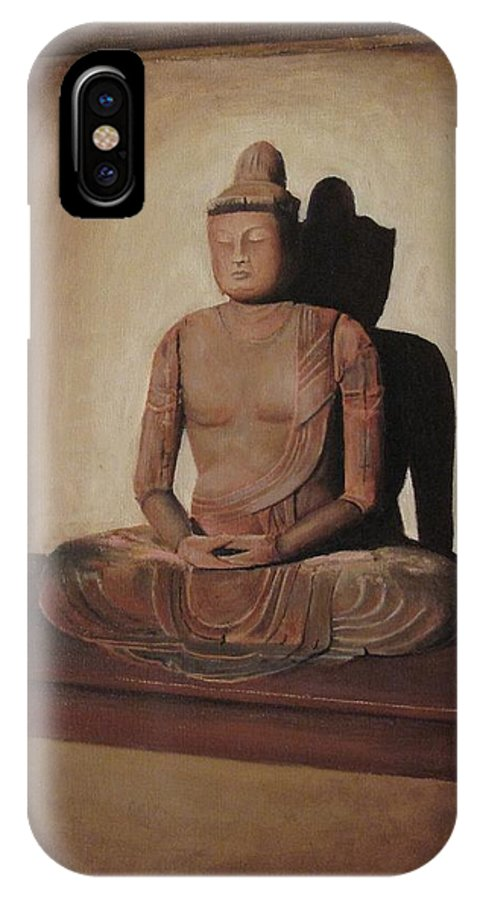 Buddha IPhone X Case featuring the painting Meditation by Anna Starkova