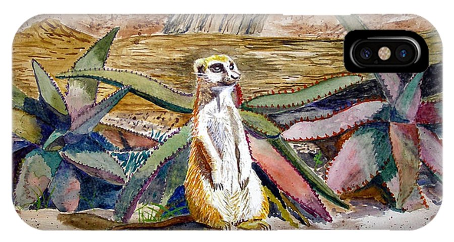 Meerkat IPhone X Case featuring the painting Meerkat And Aloe by Marty Bielefeldt