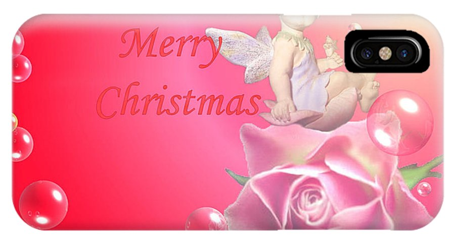 Cherub IPhone X Case featuring the photograph Merry Christmas Cherub And Rose by Joyce Dickens