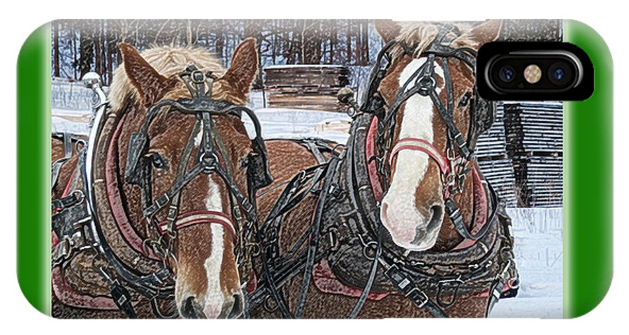 Horse IPhone X Case featuring the photograph Merry Christmas Horses At Sawmill by Michael Peychich