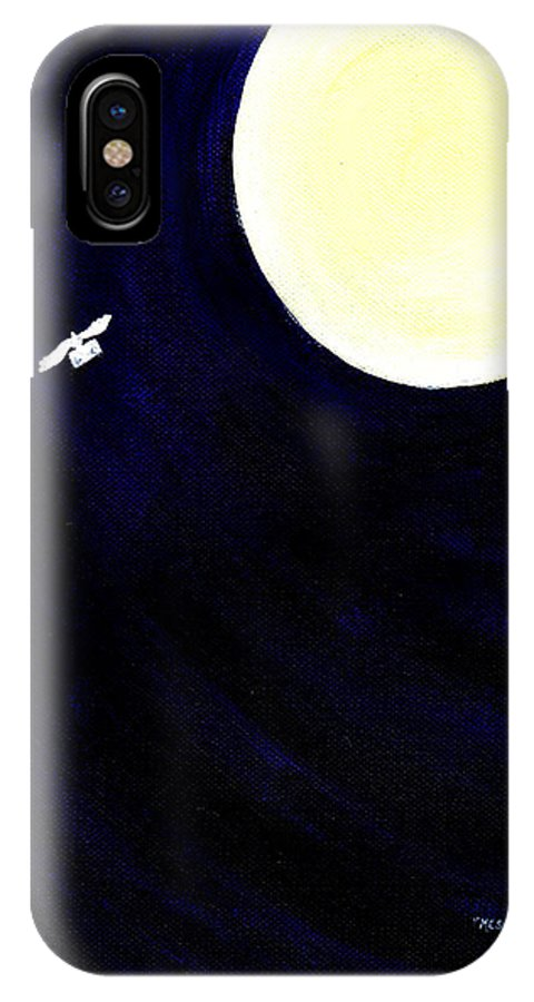 Moonlight IPhone X Case featuring the painting Message by Catt Kyriacou