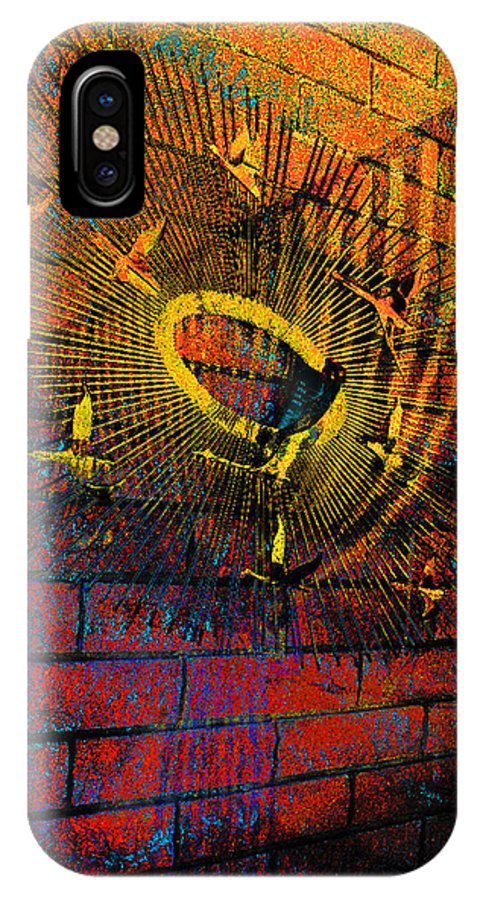 Sculpture IPhone X Case featuring the photograph Metal Sculpture Against A Brick Wall by Louis Nugent