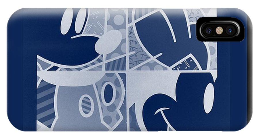 Mickey Mouse IPhone X / XS Case featuring the photograph Mickey In Negative Deep Blue by Rob Hans