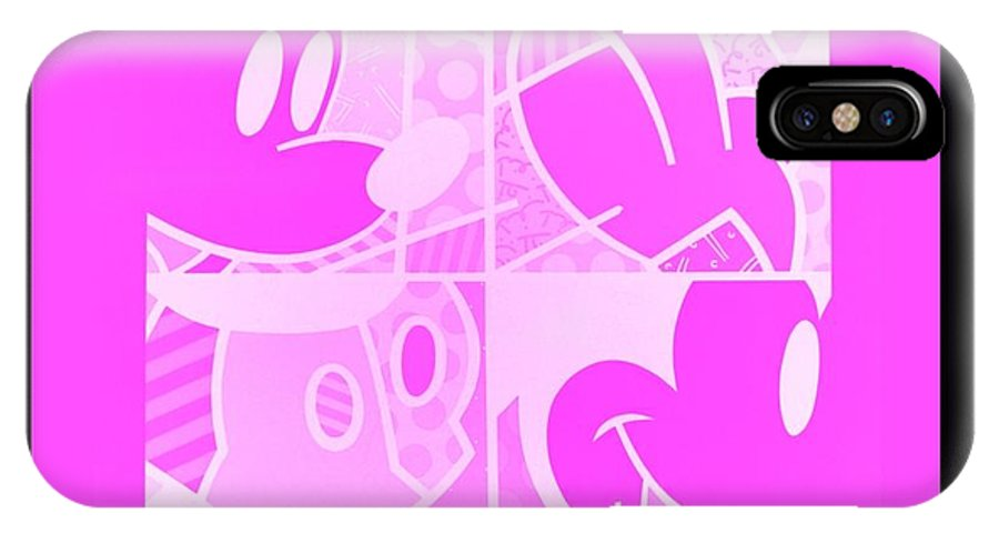 Mickey Mouse IPhone X / XS Case featuring the photograph Mickey In Negative Pink by Rob Hans