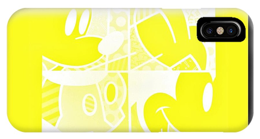 Mickey Mouse IPhone X / XS Case featuring the photograph Mickey In Negative Yellow by Rob Hans