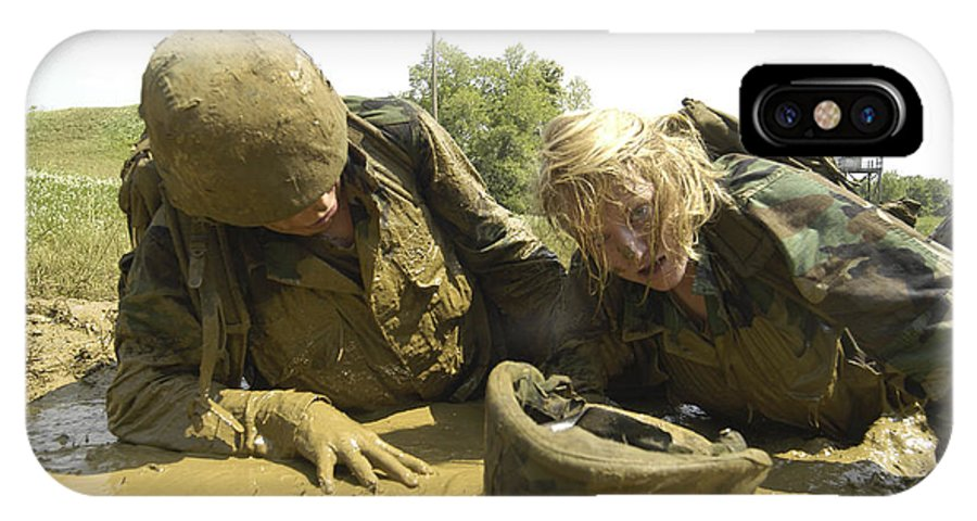 Navy IPhone X Case featuring the photograph Midshipmen Maneuver Through A Mud Pit by Stocktrek Images