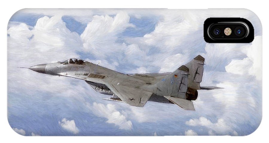 Mig Mig29 29 Plane Fighter Air Combat Military Pastel Painting Cloud Clouds Air Airplane War Cold Blue Sky IPhone X Case featuring the pastel Mig29 Pastel by Steve K