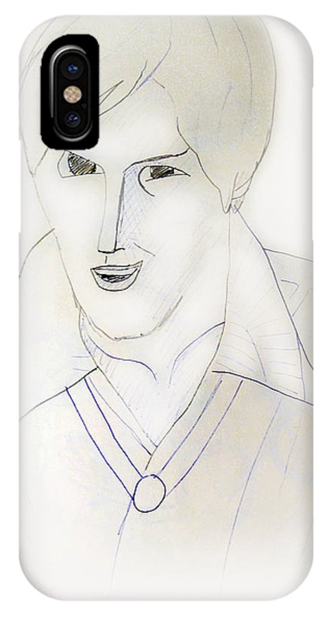2d IPhone X Case featuring the drawing Minimalism - Young Man by Brian Wallace