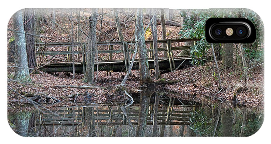 Water IPhone X Case featuring the photograph Mirrored Bridge by David Campbell