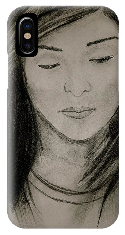 Portrait IPhone X Case featuring the drawing Missing You by Michael Brennan