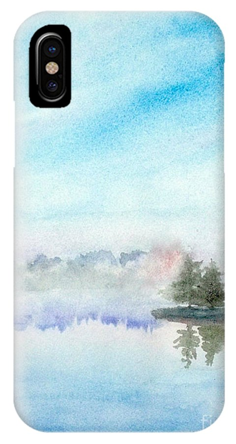 Lakeview IPhone X Case featuring the painting Misty Lake by Yoshiko Mishina