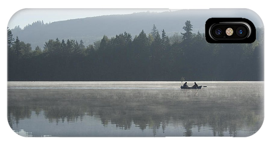 Washington IPhone X / XS Case featuring the photograph Misty Morning Fishing by Jim And Emily Bush